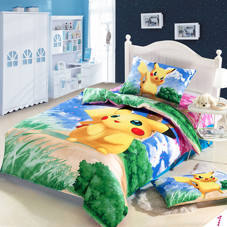 Cartoons Bedroom Sets For Teenagers : 100% Cotton Pokemon cartoon bedding set kids pikachu duvet cover ...
