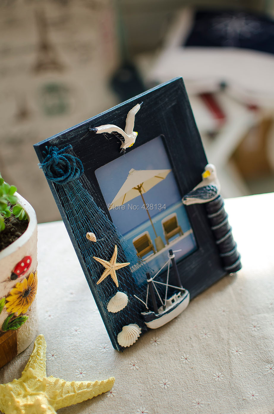 Ocean Blue Pinewood Handmade Photo Frame, Beach Sand Series (C0424), Pure handmade, 3*5 photo, ON SALE! - China TreasureHunt Home Decoration Co. Ltd. store