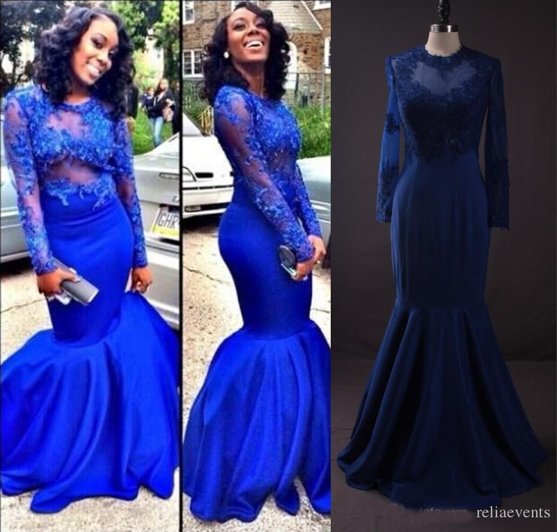 Online Get Cheap Long Sleeve Royal Blue Evening Dress 2016 ...