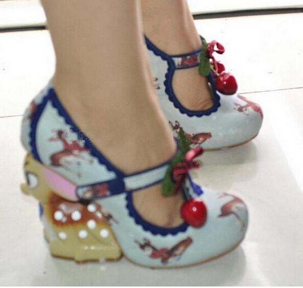 2015 New Fashion Women Strange Style Deer Deel Special Heel Animal Heel Red Cherry Closed Toe High Heel Shoes In Stock(China (Mainland))