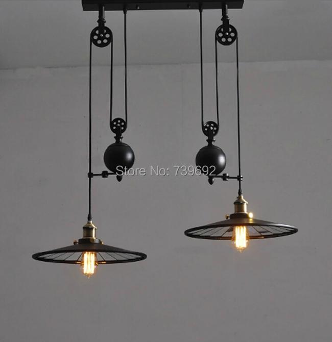 country pulley pendant lights adjustable lamps bar decoration lighting. Black Bedroom Furniture Sets. Home Design Ideas