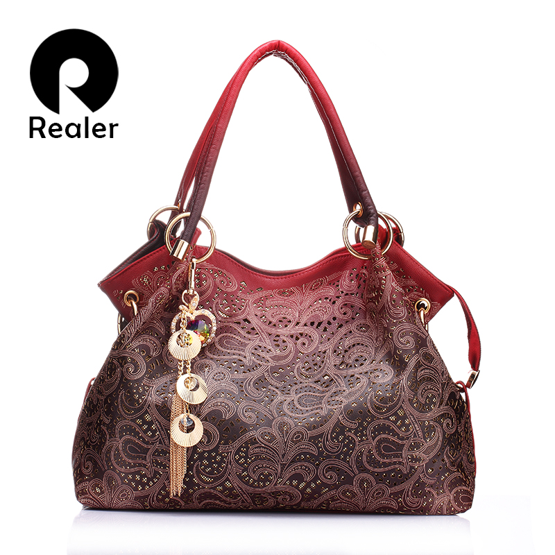 REALER brand women bag hollow out ombre handbag floral print shoulder bags ladies pu leather tote bag red/gray/blue(China (Mainland))