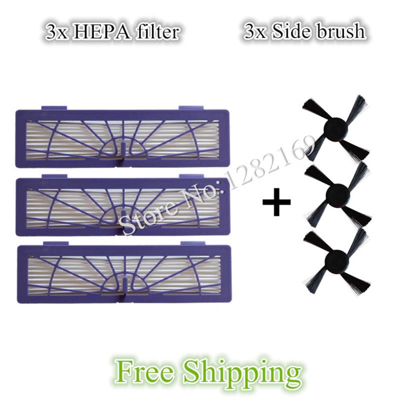 3x side Brush and 3x HEPA Filter for Neato BotVac 70e 750 85 80 Robot Vacuum Cleaner(China (Mainland))