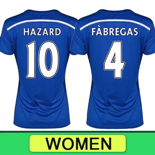 Chelsea FC women soccer jersey Oscar David luiz Hazard DIEGO Chelsea jersey 14/15 Chelsea shirt 2015 Football girl soccer jersey(China (Mainland))
