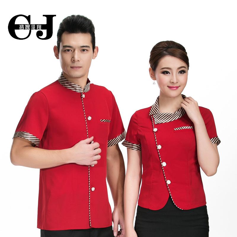 20pcs-free ship Summer work wear female short-sleeve uniform restaurant waiter clothes bartender shirt&apron - HKGG WORK UNIFORMS STORE store