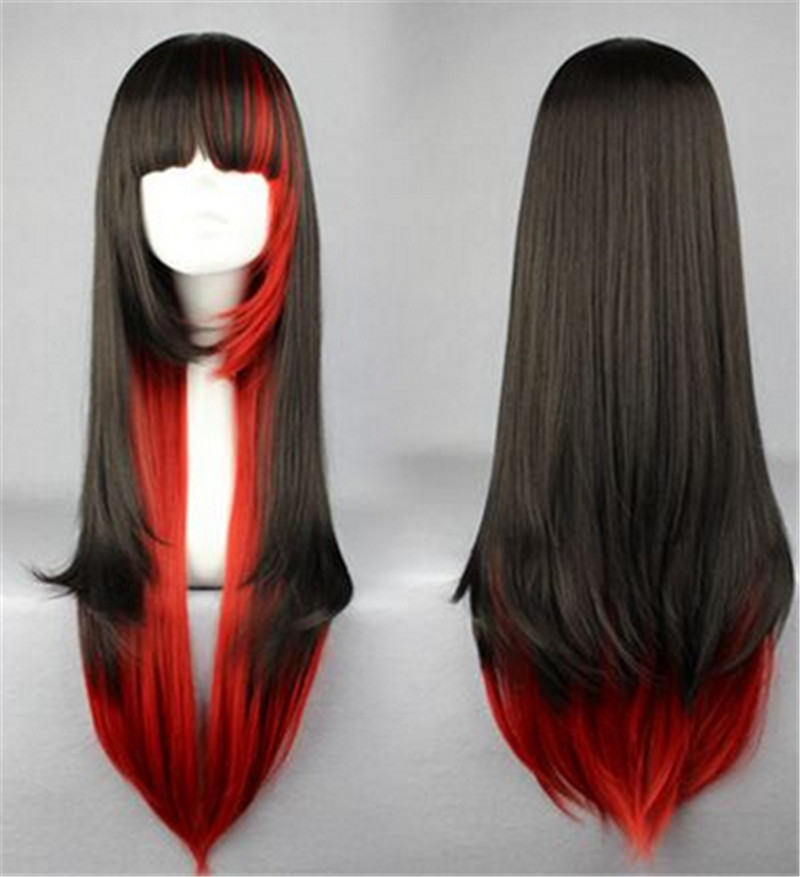 High Quality Lolita Synthetic Hair Wigs With Bangs Women Girls 70cm Long Wavy Black Red Colors Wig Natural For Cosplay Party<br><br>Aliexpress