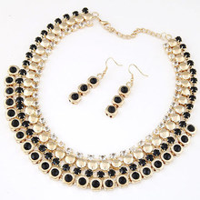 Charm Temperament Crystal Color Resin multi-layer Necklace Earrings Set Metal Chain collar Statement Jewelry Sets For Women(China (Mainland))