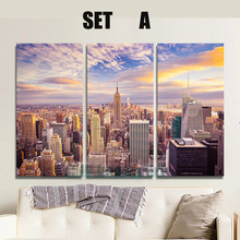 3 Panels New York city picture canvas painting Modern wall picture for living room unframed decorative canvas art(China (Mainland))