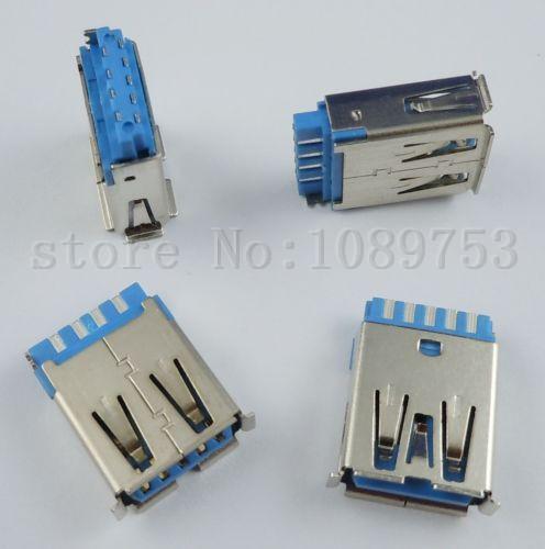 10Pcs USB 3.0 Female Type-A 9 Pin Socket Connector DIY(China (Mainland))