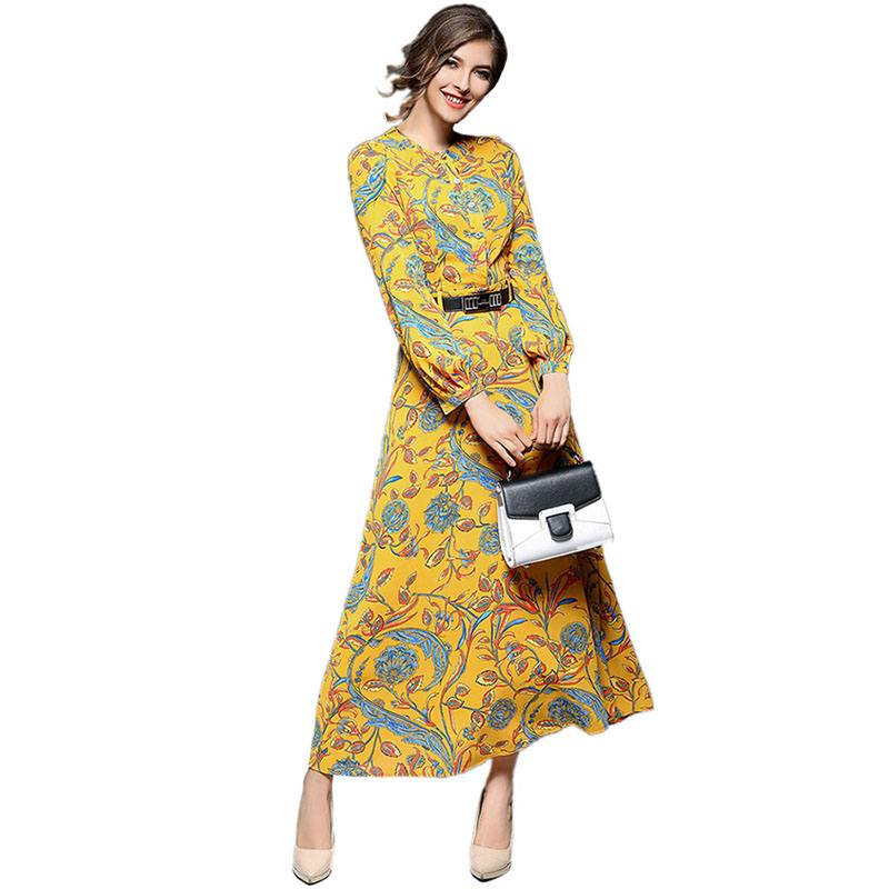 Spring Summer Vintage Ethnic Floral Print Women Chiffon Dresses Party 2017 New Fashion Womens Clothing Robe Femme Vestios