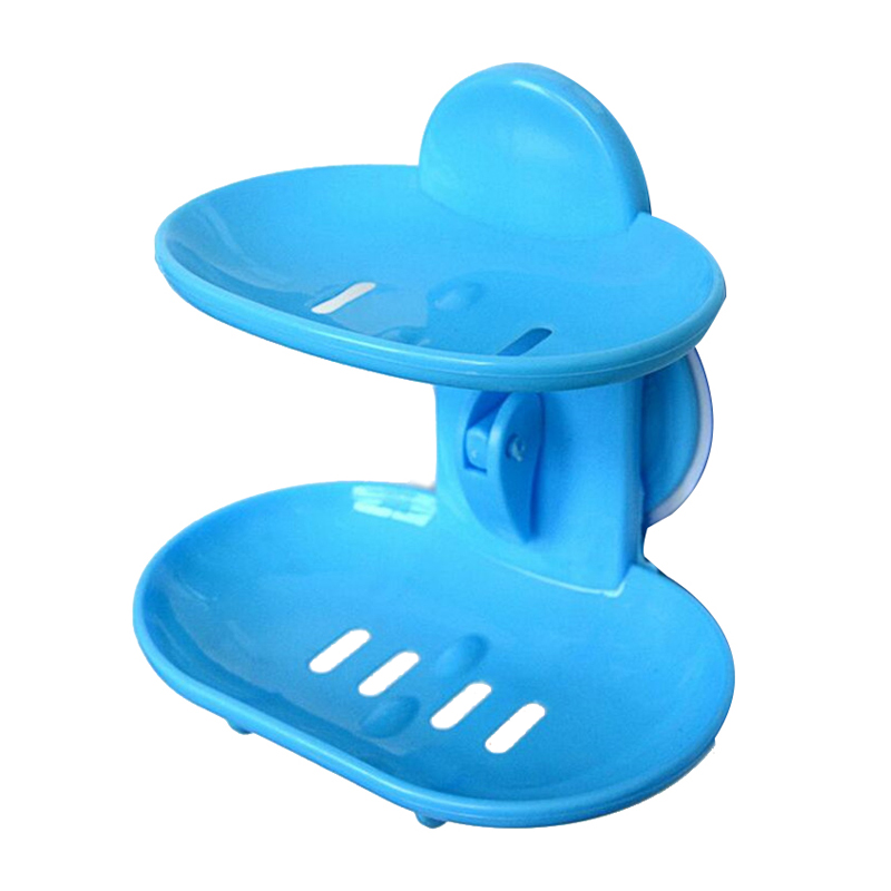 Fashion dual-strong suction cup soap box soap dishes bunk water bath basket soap holder 14*10*13CM, white