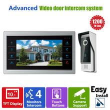 Ysecu 10 дюймов TFT жк-телефон двери видео-дверной звонок система с камеры-обскуры-4 3.6 мм объектив 1200TVL 1V1 главная квартира комплект