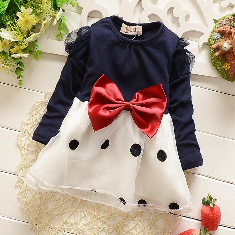 2015 New 1-4T baby girls clothing fashion mesh toddler girls dresses spring autumn baby girls dress with dot big bow(China (Mainland))