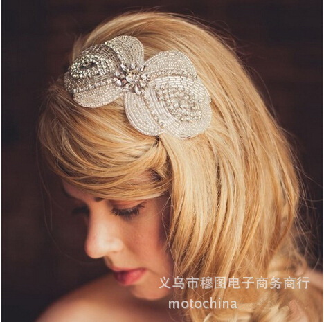 Original European and American bridal headband exclusive Super Flash rhinestone floral lace head bands for wedding Tie style(China (Mainland))