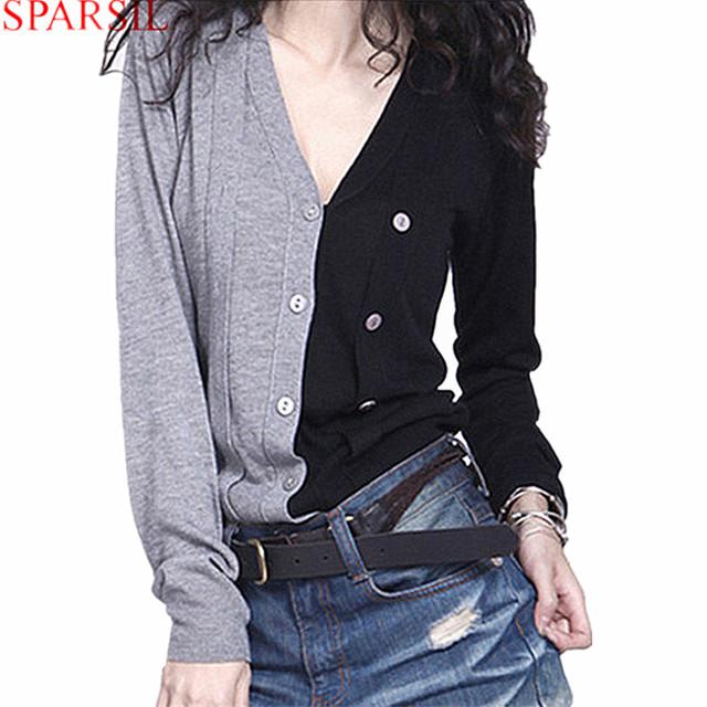 Sparsil, женские свитера, для осени, кашемир, V-образый вырез, длинный рукав, из ...