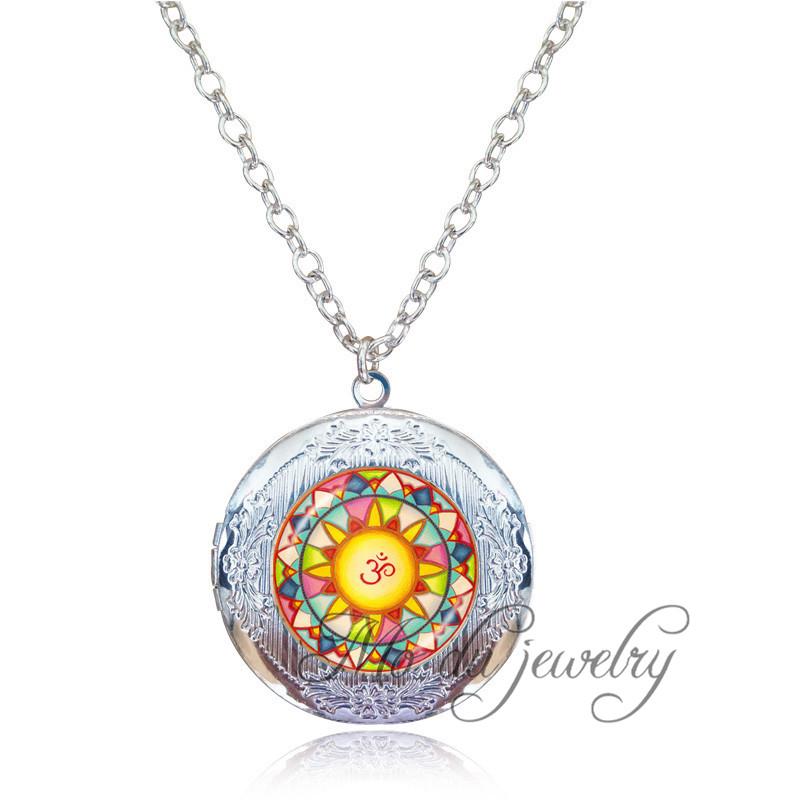 Sun Mandala Om Flower Long Necklace Antique Silver Locket Yoga Pendant Buddhism Zen Meditation Ethnic Jewelry Women Accessories(China (Mainland))