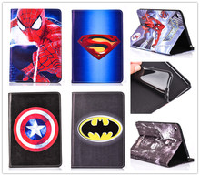 Hot 3D Cartoon Superman Spider man Batman Flip Stand Leather Smart Case Cover For iPad mini 4 Cover With Card Holder +film(China (Mainland))
