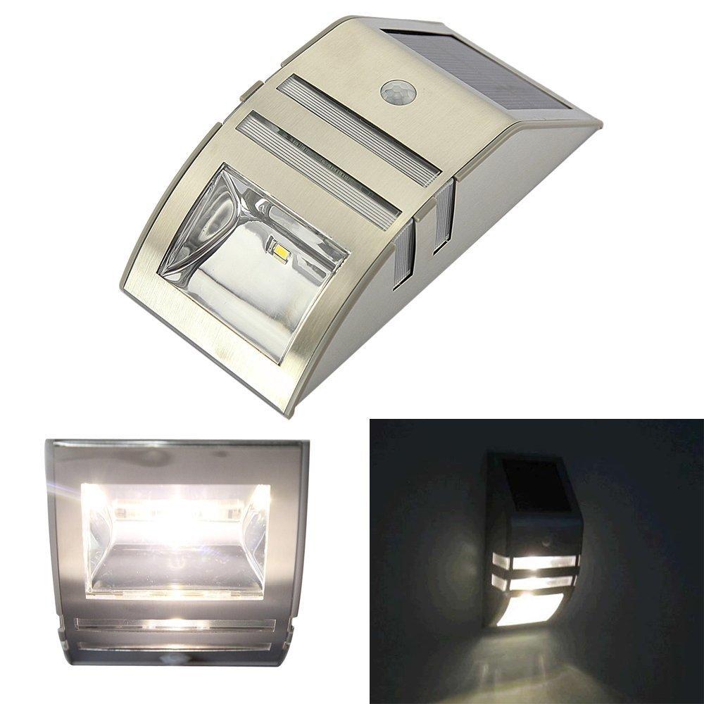 solar powered lamp led pir motion sensor wall solar light silver color. Black Bedroom Furniture Sets. Home Design Ideas