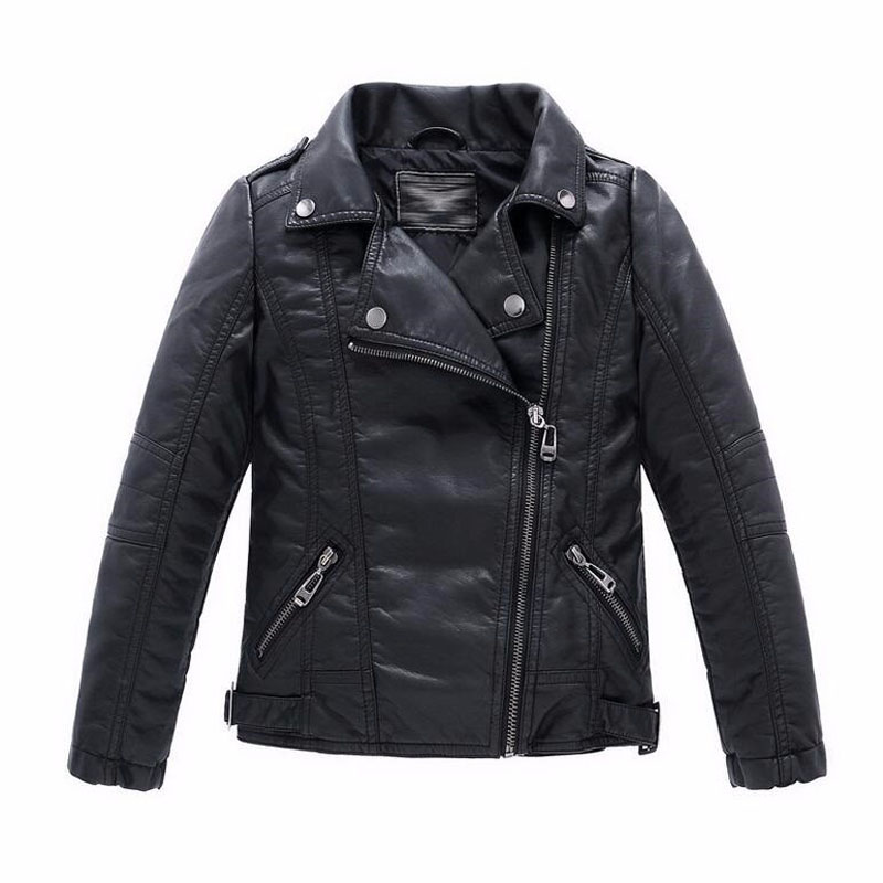 Baby Boys Faux Leather Jacket Kids Girls And Coats Spring Kids Jackets Boys Casual Black Solid Children Outerwear 2017(China (Mainland))