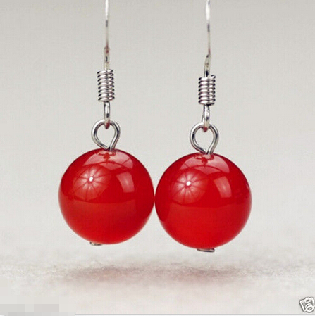 hot sell new - Handmade Natural Red Jade Round Beads 925 Sterling Silver Earrings 18K GP style Fine jewe Noble Natural jade FR(China (Mainland))