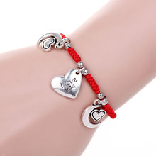 New Fashion Simple Design Handmade Braided three pendants moon Love Heart  Charm Wrap Bracelet Gift Romantic confession Jewelry(China (Mainland))