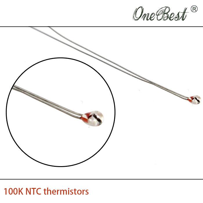 10Pcs/lot 3D printer thermistor NTC 100K single-ended glass sealed 100K Ohm precision of 1 B=3950 1.8mm Wholesale free shipping(China (Mainland))