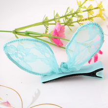 New Hot Sale Charming Korean Delicate Lace Rabbit Ears Hairpins Girls Hair Accessories  Headwear Delicate Sexy Hair clip (China (Mainland))