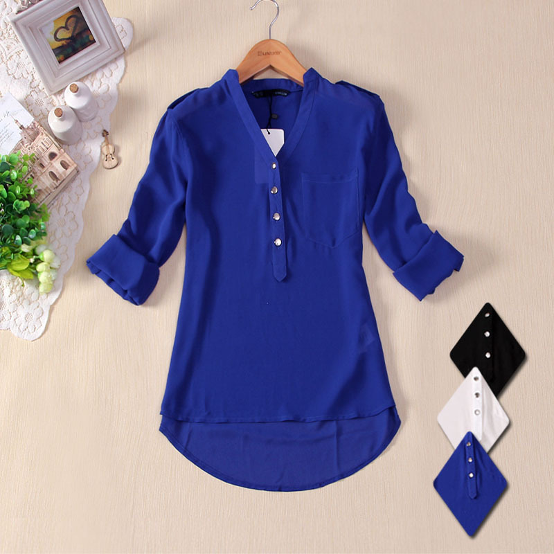 HOT 2015 women spring summer V-neck chiffon elegant all-match solid botton casual spirals shirt blouse white blue black S -XL(China (Mainland))