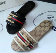 2015 Famous Brand Designer Luxury Denim With Buckle  Plus Size Slippers Women's Sandals Flat Heel Shoes 3 Colors Hot Sale