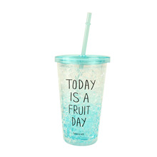 Eco-Friendly 450ml Summer Plastic Straw Ice Cup Lemon Juice Water Bottle Color-changing Cup(China (Mainland))