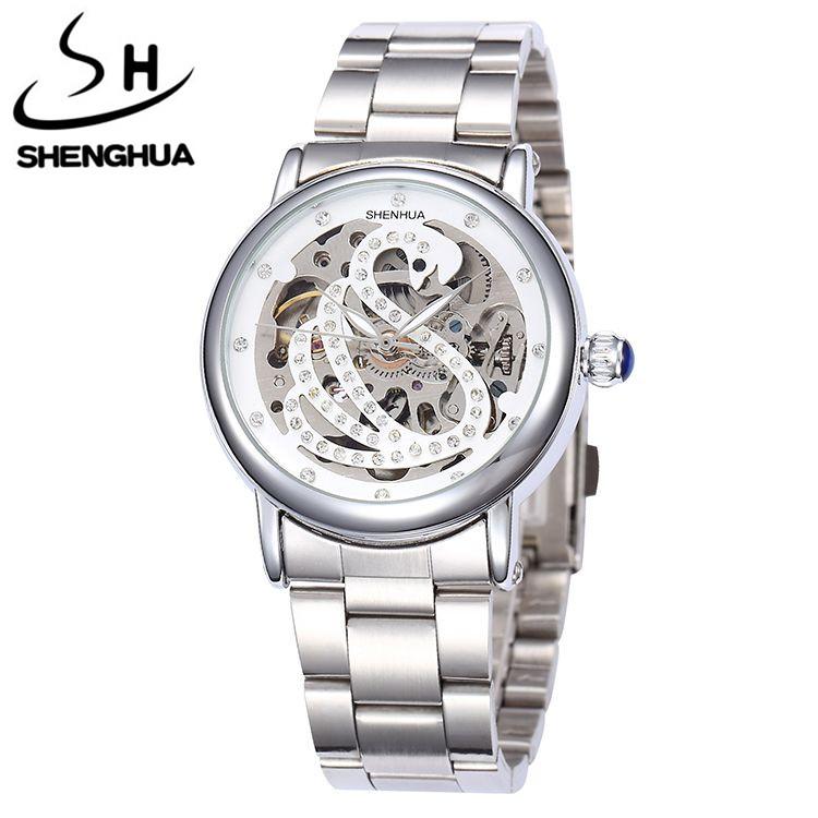 SHENHUA Women Ball Dress Watch Women Crystal Skull Auto Mechanical Watch Wristwatch Gift With Box Free Ship(China (Mainland))