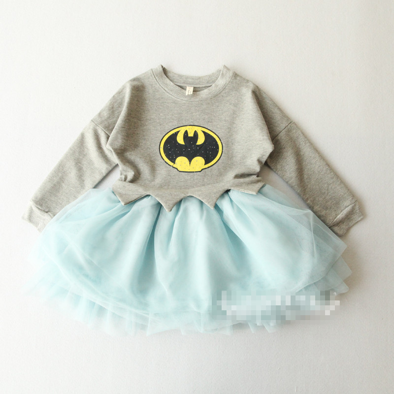 Hu Sunshine wholesale new 2014 autumn fall Girls Batman print long-sleeve pink gray dress<br><br>Aliexpress