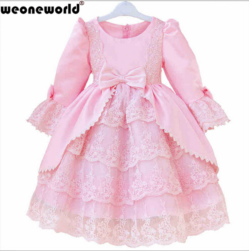 WEONEWORLD 2016 Autumn Winter Long-Sleeve Flower Baby Girls Party Formal Dress Children's Clothing Female Child Princess Dress(China (Mainland))