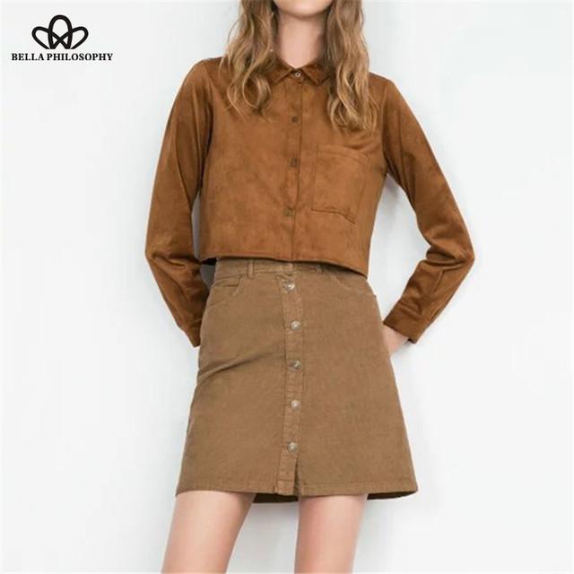 2015 осень зима новый вельвет тонкий высокой талией женщины хаки юбка