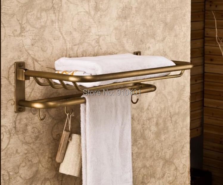 Hot Sale Wholesale And Retail Promotion Antique Brass Bathroom Shelf Towel Rack Basket Holder Towel Bar W/ Hook Hangers(China (Mainland))