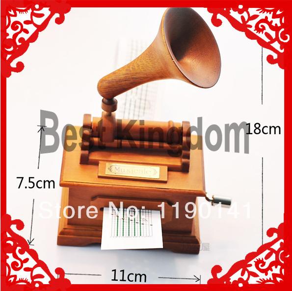 Retro Birthday Gift Hand-Cranking Phonograph Music Boxes For Women Lover(China (Mainland))