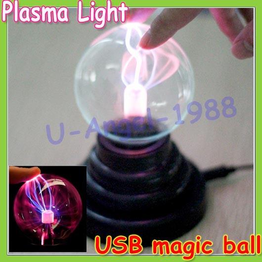 1pcs High-quality USB Glass Plasma Ball Sphere Light Lamp Party vehicle-mounted +retail box(China (Mainland))