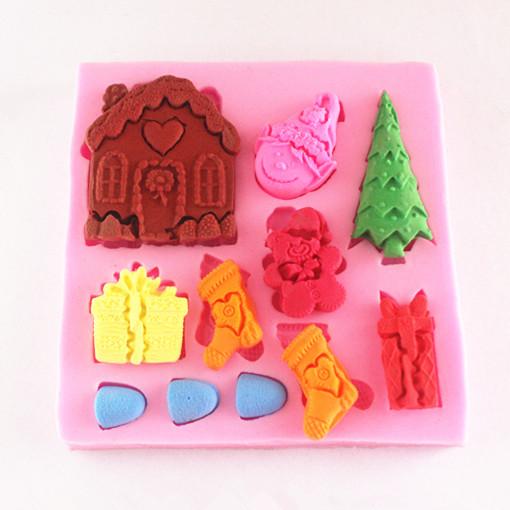 Cake Decorating Gift Experience : Xmas Tree Gift House Socks mold,Fondant Cake Decorating ...