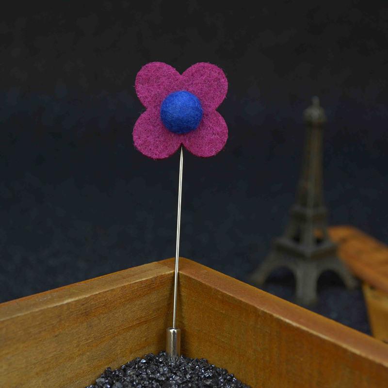 10pcs/lot Wholesale Fashion long men brooch flower lapel pin 2.5cm suit boutonniere fabric yarn pin 20 colors collar broochers(China (Mainland))