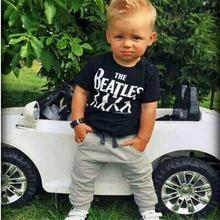 New 2016 Baby Boy clothes 2pcs Short Sleeve T-shirt Tops +Pants Outfit Clothing Set Suit with The Beatles printed(China (Mainland))