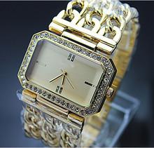 Clásico del oro de lujo plateado correa de malla vestido relojes para mujeres moda Casual reloj 2015 nuevo reloj de pulsera