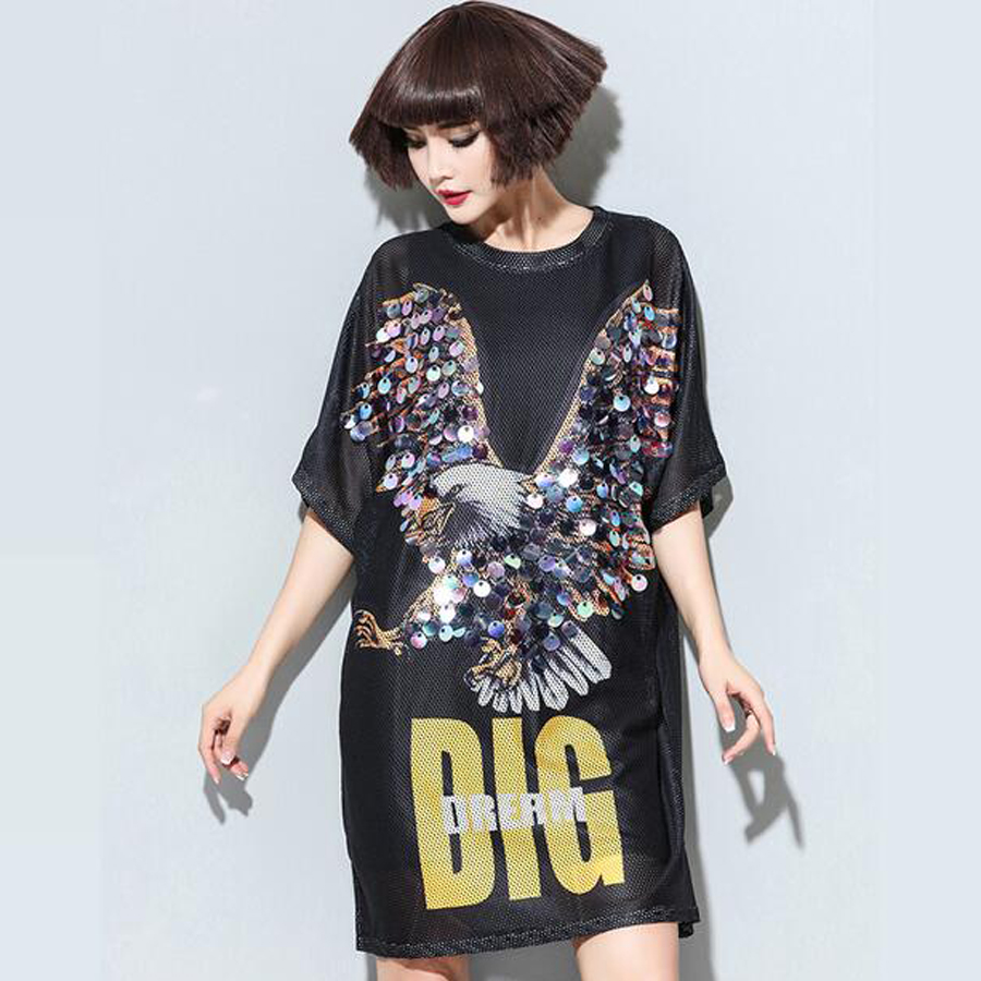 Summer big size clothing women punk rock fashion loose korean mesh dress sequined eagle plus size party dress black Nora101551(China (Mainland))