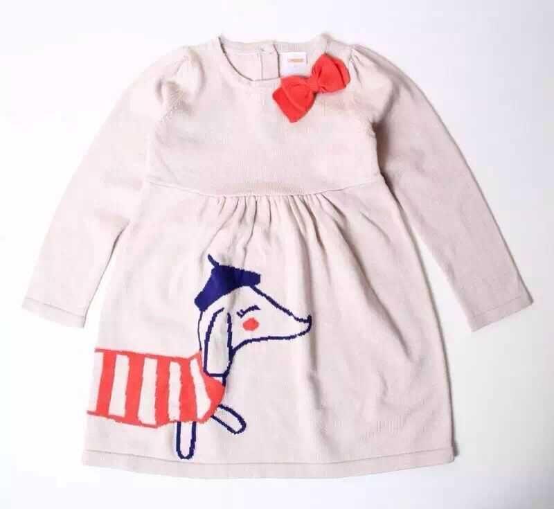 Здесь можно купить  2015 Kids Girls Knit Bow Dresses Baby Girl Fall Winter Cartoon Dress Girl Fashion Knitting Dress Babies clothes  Детские товары