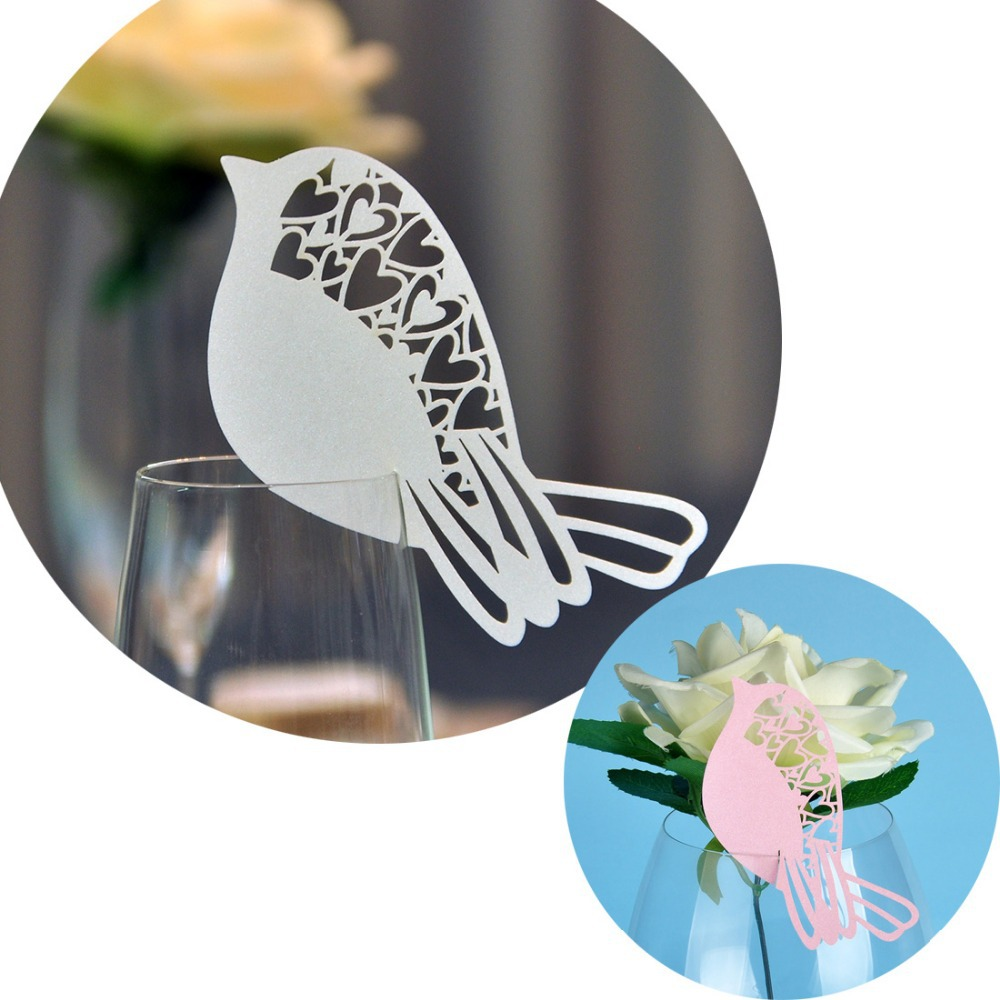 50pcs/lot Lovely Bird Table Mark Wine Glass Wedding Favors Party Decor Party Decoration Butterfly Place Card Cup Paper Card(China (Mainland))
