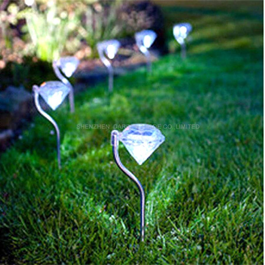 Free ship by DHL Solar lawn light Solar power outdoor solar colorful Led Diamond Shaped Led