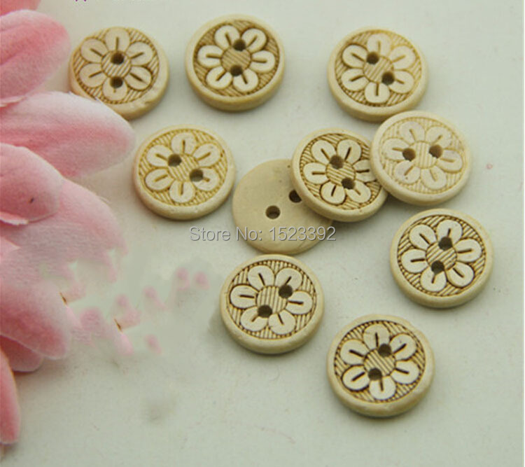 Wholesale 100Pcs 12.5mm Natural Color Wooden Buttons Craft / Scrapbooking Accessories Bulk Buttons DIY Sewing Supplies 4-047(China (Mainland))