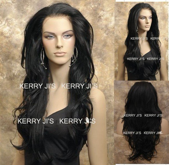 Stock LACE FRONT Synthetic WIG Long Curly Black #1b Synthetic Hair Free shipping