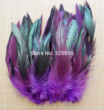 """Cheap! 50pcs Purple Beautiful Rooster feathers 5-8""""/12.5-20cm Natural Pheasant Chicken Plume DIY Craft decoration(China (Mainland))"""
