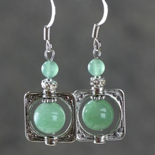 Diy jewelry natural aventurine jade stone fashion elegant women drop earrings(China (Mainland))