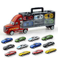 12 pcs 1 sets toy vehicles model scale model toy cars children's toy alloy car model portable box container car(China (Mainland))